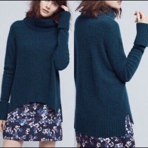 Anthro Moth Fireside Green Wool Turtleneck Sweater